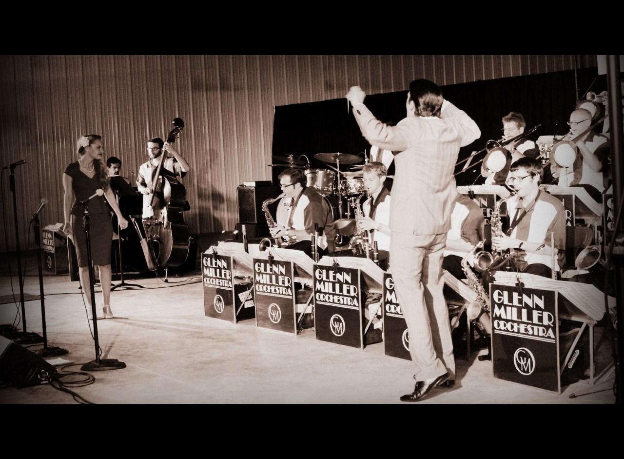 Edited Glenn Miller Orchestra, action shot. Glenn Miller SwingFest, 2014. HeidiTown