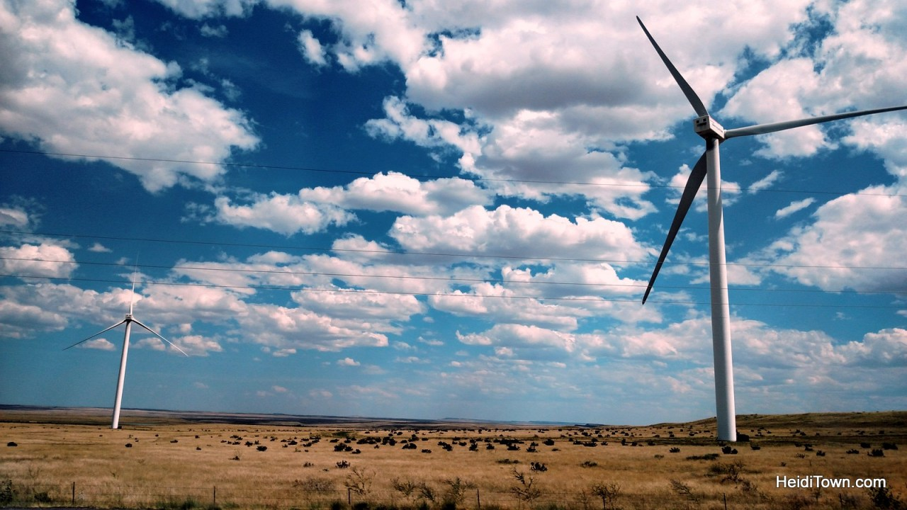 Taking the long way home, #TravelTuesday. wind turbines along south I25 in Colorado. HeidiTown.com