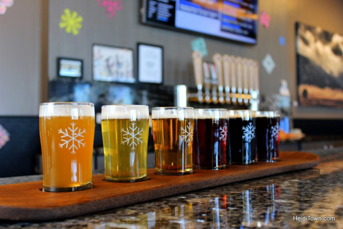 A taster flight at Snowbank Brewery in Fort Collins, Colorado. HeidiTown.com