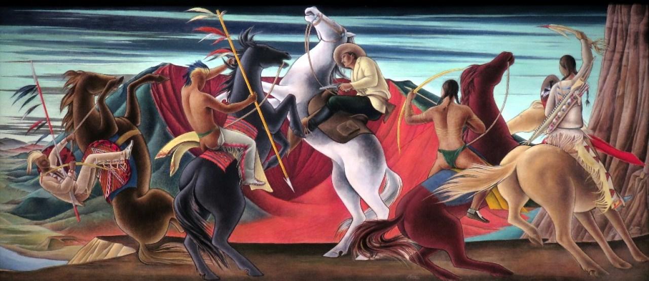 Colorado Springs, land of museum, MECHAU, F., Indian Fight, ca. 1936