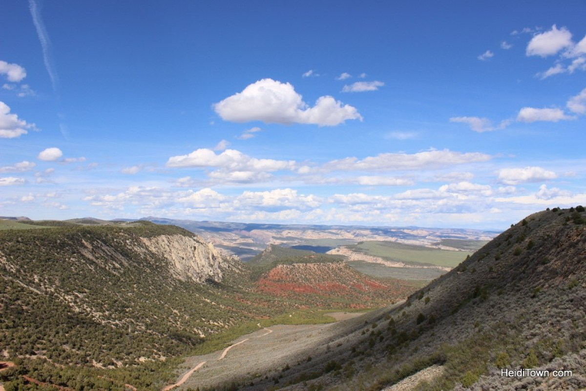 Camping at Echo Park in Dinosaur National Monument. Looking down at the road to Echo Park Campground. HeidiTown.com