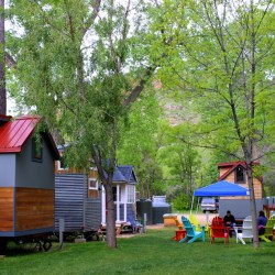 A stay at Colorado's only tiny home hotel. outside shot. HeidiTown.com