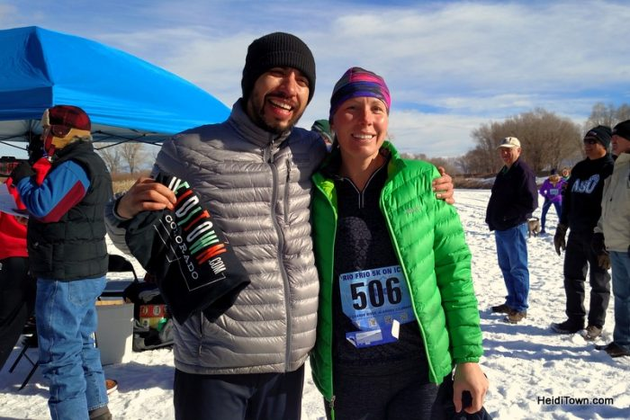 Overall Winners of the 2016 Rio Frio on Ice 5K, Amy Carpenter and Enrique Salcedo. HeidiTown.com