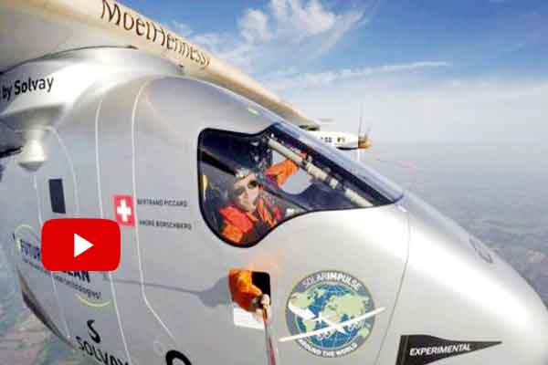 Solar powered airplane globe circling voyage lands in New York.