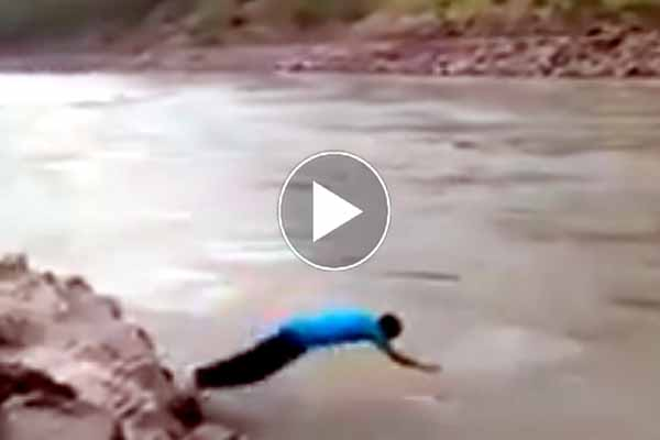 Watch video challenging cross stream 19-year-old youth whisked away in Jhelum river.