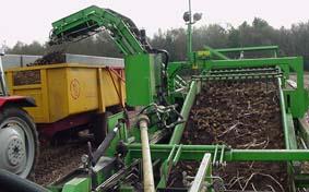 Tijdens het transport op de zeefband komen de aardappelen verschillende kloppers , schudders en loofrollen tegen om het afval (zand, loof, steentjes) te scheiden van de aardappel
