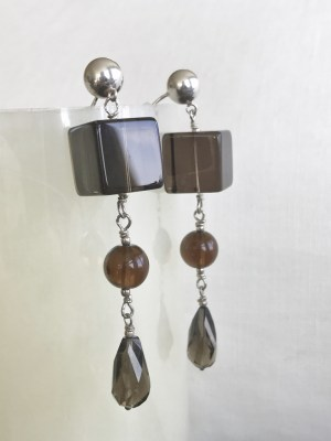 Faceted Smokey Quartz Gems, Sterling Silver