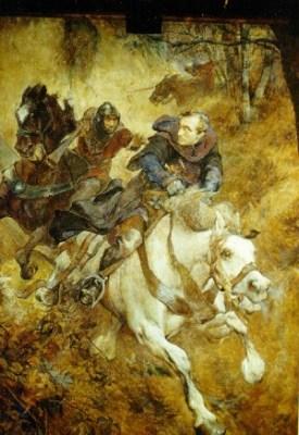 Claus Meyer: Der Überfall auf Erzbischof Engelbert I., 1900, Gemälde im Rittersaal von Schloss Burg, 1900