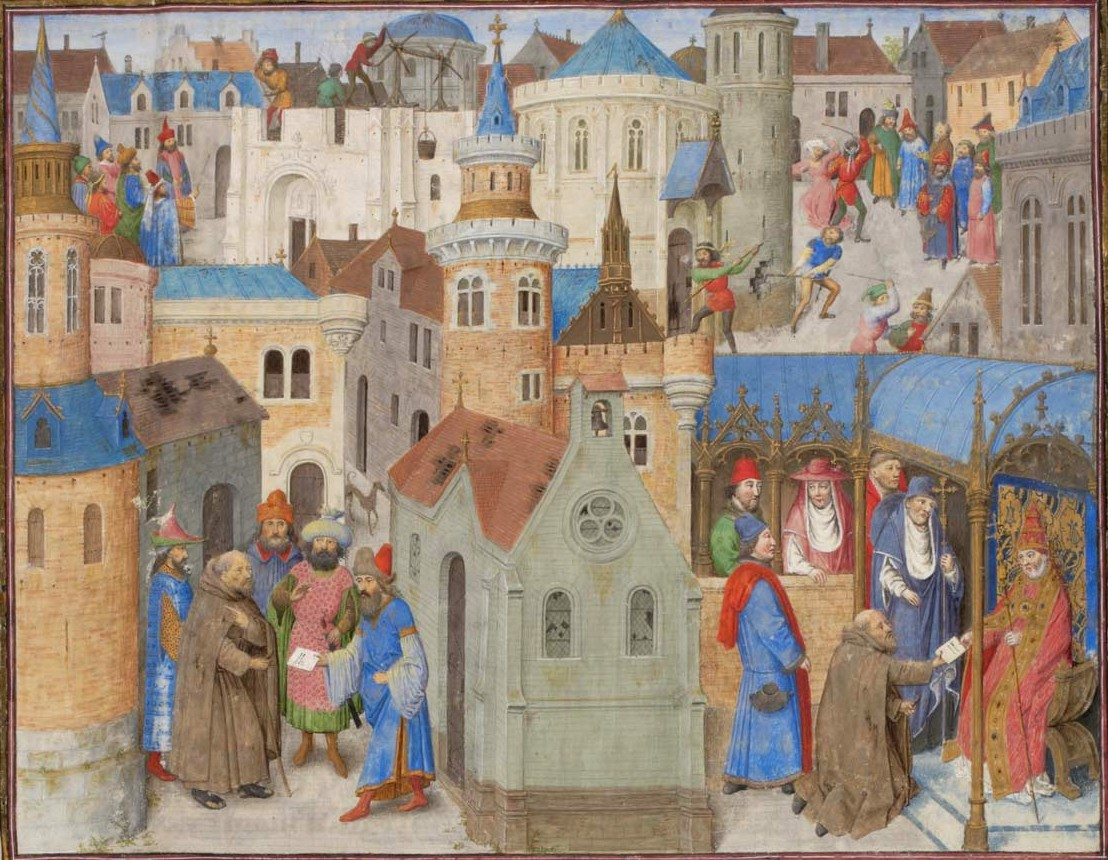Peter the Hermit presenting a letter to Pope Urban II received from Peter, Patriarch of Jerusalem, at the Council of Clermont.