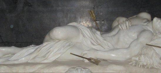 Giorgetti: Statue am Grab, um 1665, in der Kirche S. Sebastiano in Rom