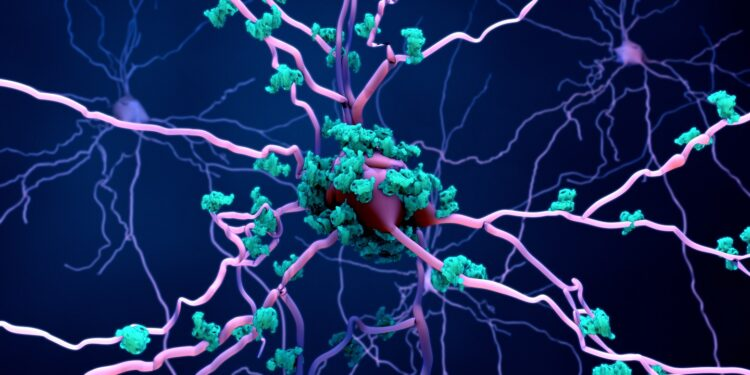 Depiction of neurons with tau protein deposits.