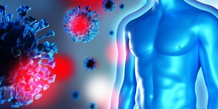 Graphic representation of a male torso surrounded by floating viruses.