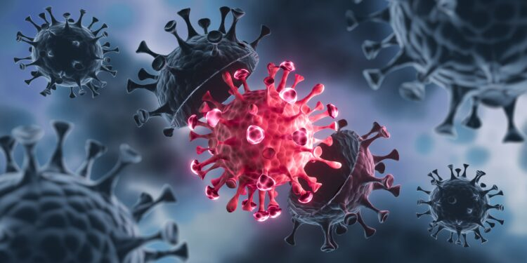 Graphic representation shows a coronavirus that opens in the middle and releases a new virus.