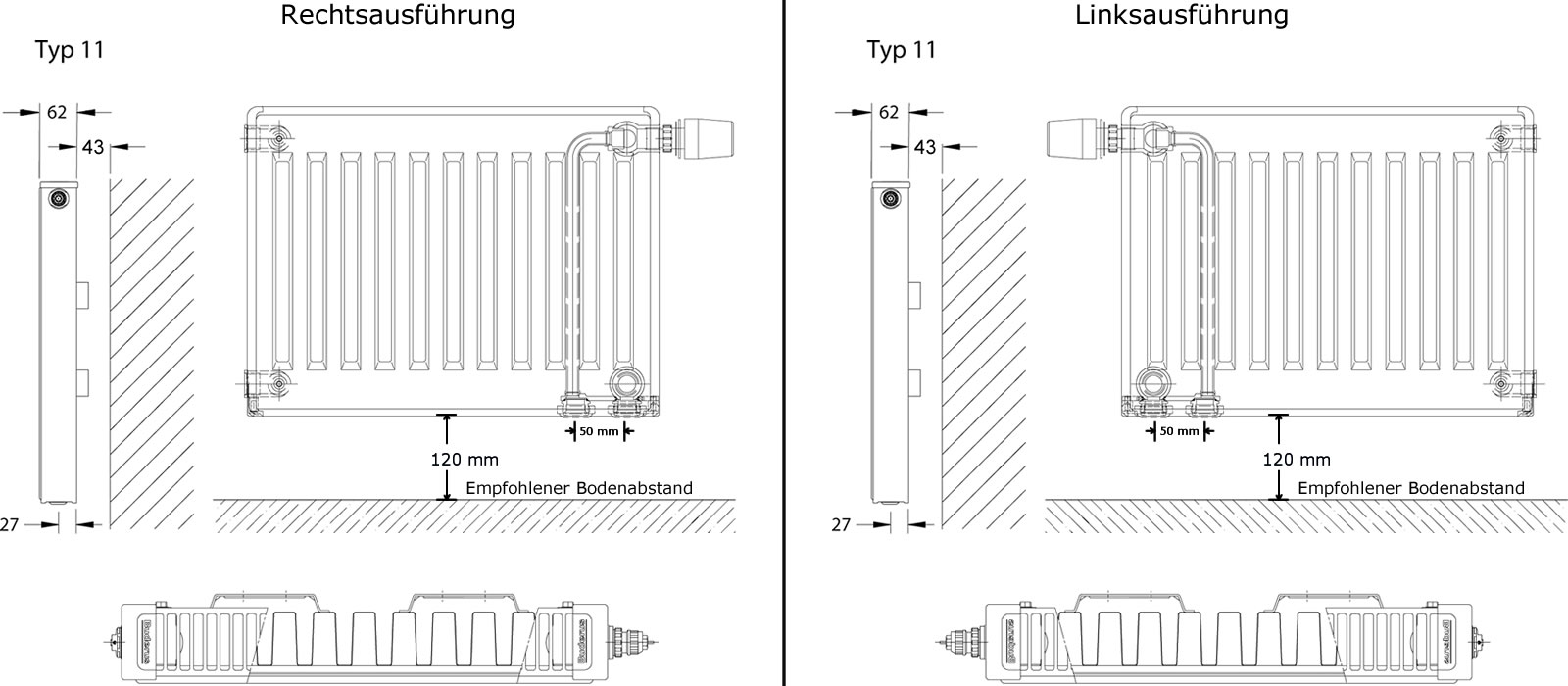 Buderus Profil-Heizkörper Ventil Typ 11 500 X 500 Mm | Heima24.De
