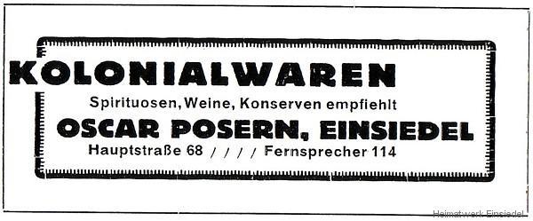 Kolonialwaren Oskar Posern Einsiedel Werbeannonce von 1926