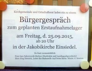 Bürgergespräch Jakobikirche Einsiedel 25.09.15