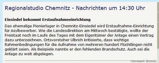 Asylbewerber Erstaufnahmelager Chemnitz-Einsiedel