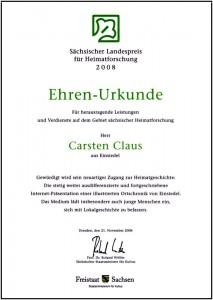 Urkunde Sächsischer Landespreis für Heimatforschung 2008
