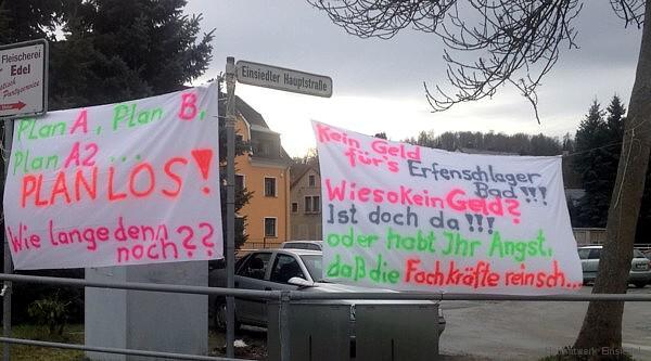 Banner an der Kreuzung Neue Straße/Hauptstraße 27.1.16