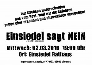 Flyer für Demo am 2.3.2016