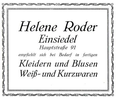 Werbeannonce Helene Roder 1926