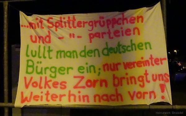 Spruchbanner in Einsiedel am 16.03.2016