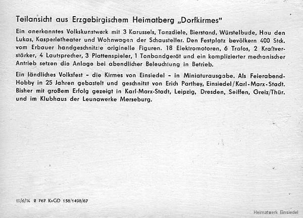 Fotopostkarte Dorfkirmes Parthey Teilansicht um 1967