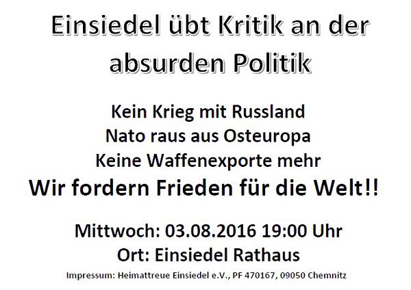 Aushang Friedensmarsch Einsiedel 03.08.2016