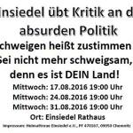 Flyer zu mehreren August-Demos in Einsiedel