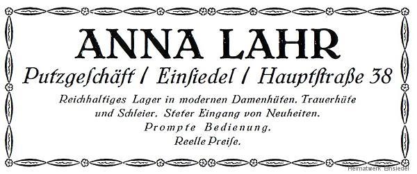 Annonce Putzgeschäft Anna Lahr 1926