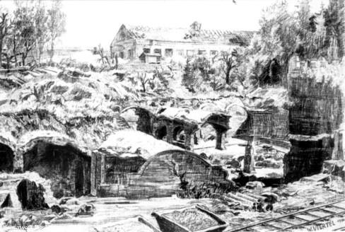 Zeichnung der zerstörten Filterhalle