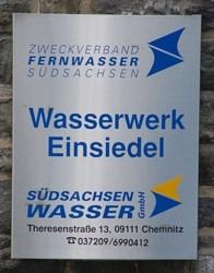 Schild am Eingang des Wasserwerkes Einsiedel