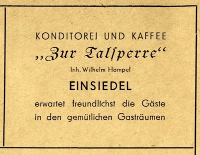 Konditorei und Kaffee zur Talsperre Werbung 1955