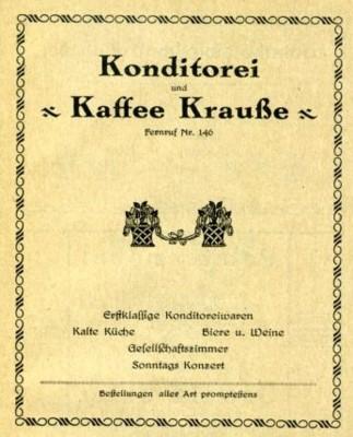 Konditorei & Kaffee Krauße Werbung Adressbuch 1926/27