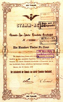"""Aktie """"Chemnitz-Aue-Adorfer Eisenbahngesellschaft"""" (CAAE)"""