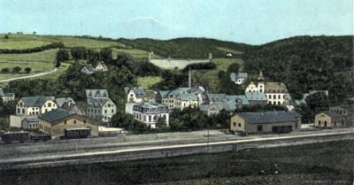 Lithografie Einsiedel Ortsmitte um 1909