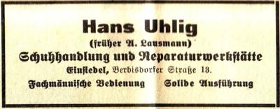 Schuster Hans Uhlig Einsiedel Annonce Einsiedler Wochenblatt 1935 (Nachfolger Lausmann Schuster)