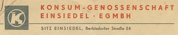Briefkopf Möbelkonsum Einsiedel