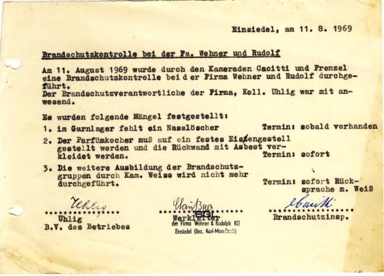 Mängelliste nach Brandschutzkontrolle bei WeRu Einsiedel 1969
