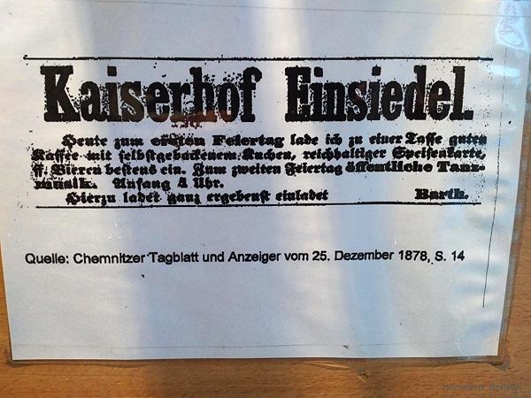 Aushang einer alten Annonce im Autohaus am Kaiserhof