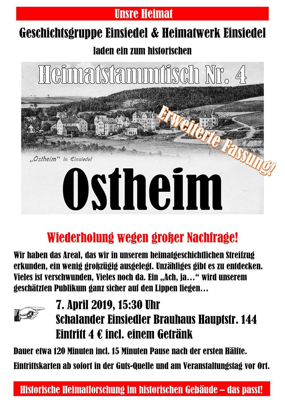 Heimatstammtisch Einsiedel Nr. 4 Ostheim am 7. April 2019 im Schalander des Einsiedler Brauhauses