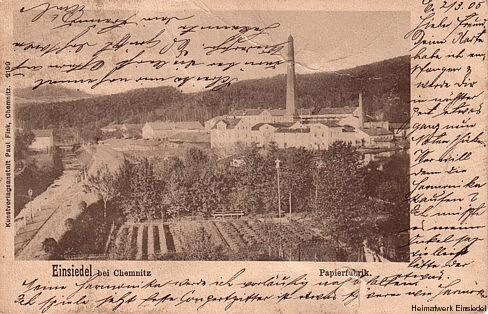 Papierfabrik Einsiedel, Postkarte um 1905