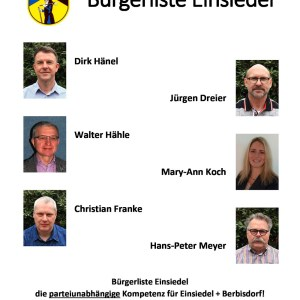 Kandidaten Bürgerliste Einsiedel für die Ortschaftsratswahl 2019