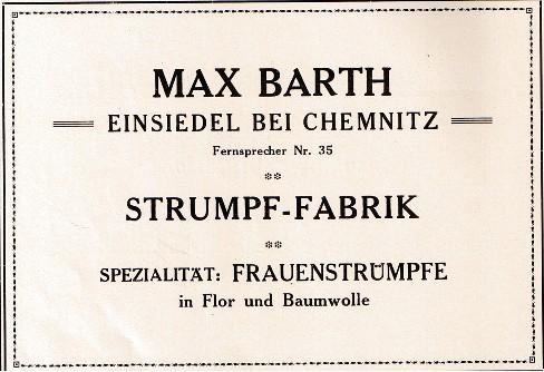 Strumpffabrik Max Barth Einsiedel 1924