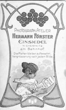 Fotorückseite Jugendstil, Förster Einsiedel