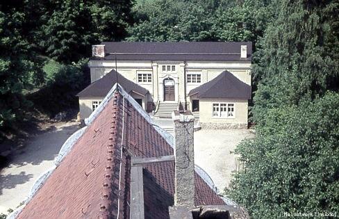 Schulturnhalle Einsiedel vom Schulturm aus fotografiert, um 1960