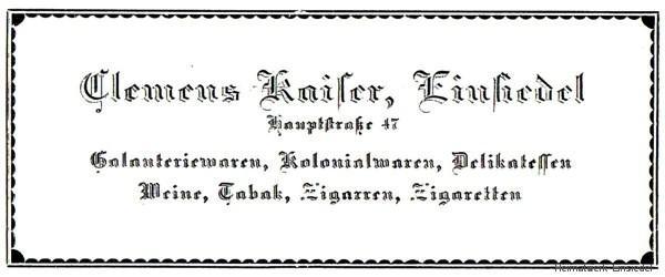 Annonce Clemens Kaiser, Einsiedel 1926