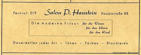 Werbung Friseursalon Haustein, Einsiedel 1955
