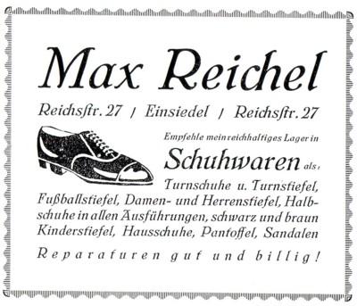 Reiche Schuster: Annonce Schuhwaren Max Reichel, Einsiedel, 1926