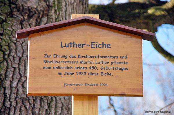 Hinweisschild an der Einsiedler Luther-Eiche